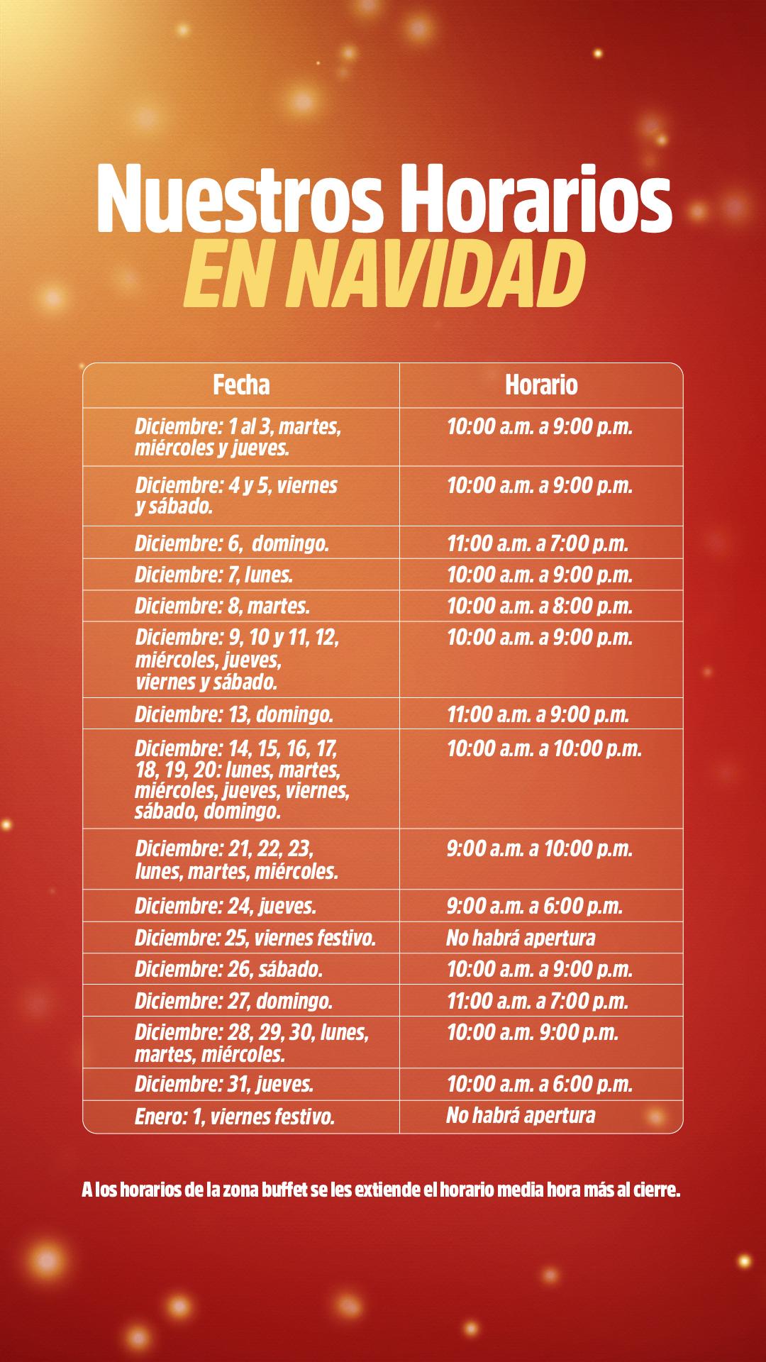 horarios diciembre